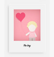 cute boy hold pink balloon and pink background vector image vector image