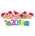 cute kids banner year of the pig 2019 vector image vector image