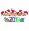 cute kids banner year pig 2019 vector image