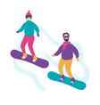 cute modern young couple snowboarding vector image
