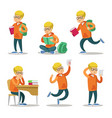 cute student cartoon character set vector image