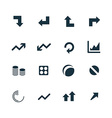 diagram icons set vector image vector image