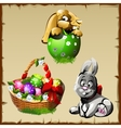 Easter bunnies and large basket with colorful eggs vector image