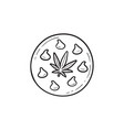 edible cannabis cookie hand drawn outline doodle vector image