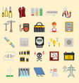 energy power icons electricity safety vector image