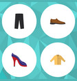 flat icon clothes set of banyan male footware vector image
