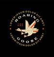 flying goose monoline badge logo icon vector image