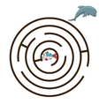 Game labyrinth find a way dolphin vector image vector image
