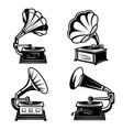 gramophones vintage music players with vinyl vector image vector image