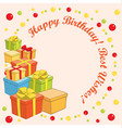 happy birthday and best wishes - greeting card vector image vector image