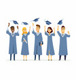 happy graduating students - cartoon people vector image