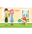 happy man and woman with family house and flowers vector image vector image