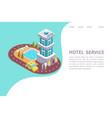 hotel isometric website banner vector image