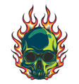 human skull colored with flames vector image