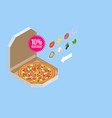 isometric delicious pizza with ingredients and vector image