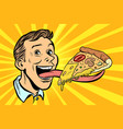 man with pizza on long tongue vector image