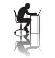 man working at computer silhouette with vector image