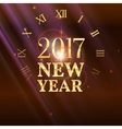 New Year shining banner with clock vector image