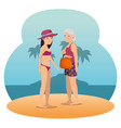 people on the beach summer vacation design vector image vector image