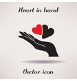 Pictograph of heart in hand icon Template for vector image vector image