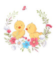 postcard poster cute little chickens in a wreath vector image vector image