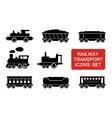 railway transport icons vector image
