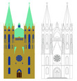 se cathedral sao paulo colored and outline vector image vector image