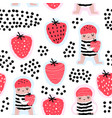 seamless pattern with cute girls and strawberries vector image vector image