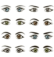 set eyes and brows isolated on white background vector image vector image