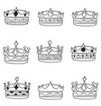 set of crown hand draw style vector image vector image