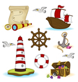 set of isolated nautical elements vector image vector image