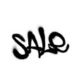 sprayed sale font graffiti with overspray in black vector image vector image