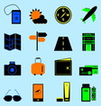 Travel colorful icons set on light blue background vector image