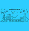 united states honolulu winter holidays skyline vector image vector image