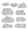 vintage engraved clouds set hand drawn doodle vector image