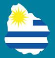 waving fabric flag map of uruguay vector image vector image