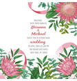 wedding invitation with protea and greenery vector image vector image