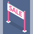 white sale sign with pink vector image