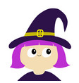 witch girl wearing curl hat cartoon funny spooky vector image vector image