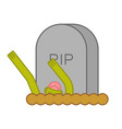 zombie and grave gravestone and dead man halloween vector image