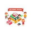 children reading books boys and girls enjoying vector image