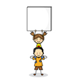children with Blank Signs vector image