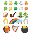 St Patrick's day icon set vector image