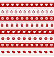 set of red and white valentines day icons vector image