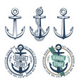 3 retro anchors with a rope vector image vector image