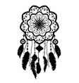 a silhouette of a dream catcher vector image vector image