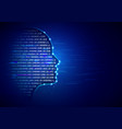 artificial intelligence background with human head vector image vector image