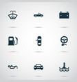 auto icons set with key oil pressure low vector image