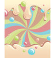 background with flowing syrup and color bubbles vector image vector image