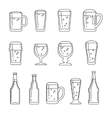 Beer line icons vector image vector image